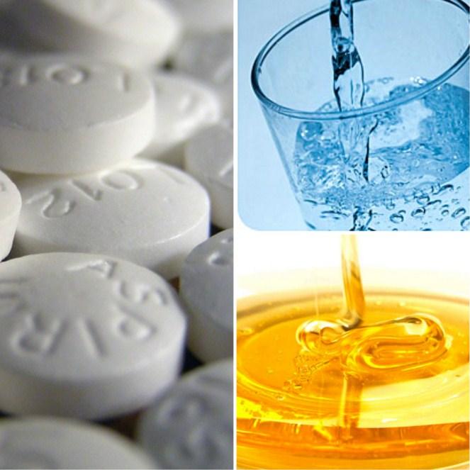 аспирин, вода, мед
